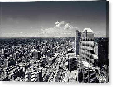 Arial View Of Calgary Facing West Canvas Print by Lisa Knechtel
