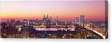Arial View Of The City At Twilight Canvas Print by Panoramic Images