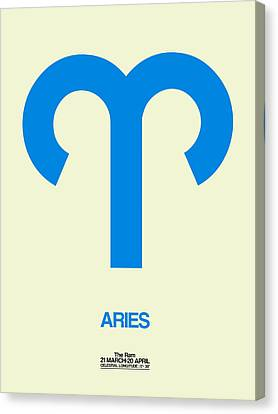 Zodiac Signs Canvas Print - Aries Zodiac Sign Blue by Naxart Studio