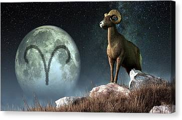 Aries Zodiac Symbol Canvas Print by Daniel Eskridge