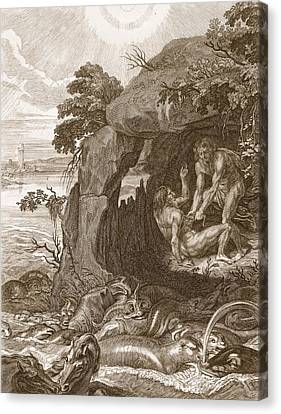 Aristeus Compels Proteus To Reveal Canvas Print by Bernard Picart