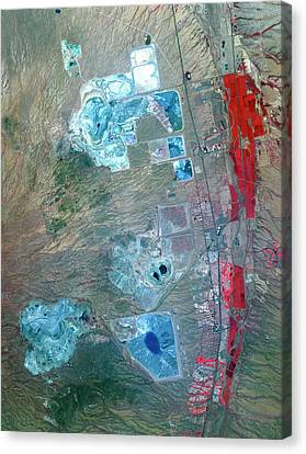 Arizona Copper Mine Canvas Print by Nasa/gsfc/meti/ersdac/jaros, And U.s./japan Aster Science Team