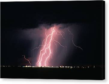 Arizona  Lightning Over City Lights Canvas Print by Anonymous