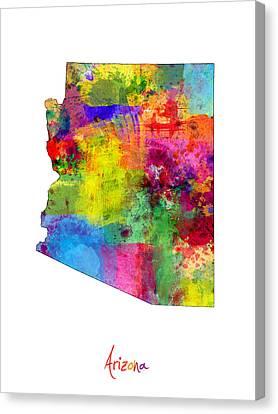 Arizona Map Canvas Print by Michael Tompsett