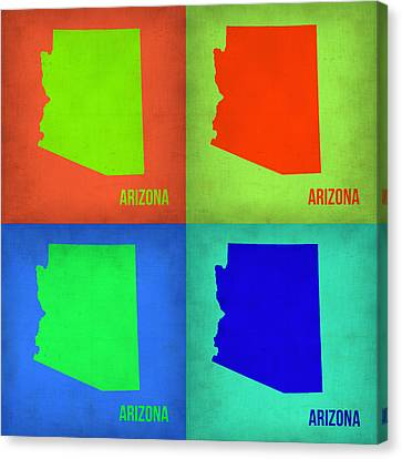 Arizona Pop Art Map 1 Canvas Print by Naxart Studio