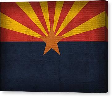 Arizona State Flag Art On Worn Canvas Canvas Print by Design Turnpike