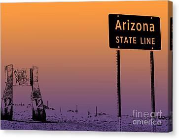 Arizona State Line Usa Canvas Print by Janice Rae Pariza