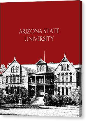 Arizona State University - The Old Main Building - Dark Red Canvas Print by DB Artist