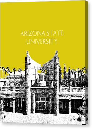 Arizona State University 2 - Hayden Library - Mustard Yellow Canvas Print by DB Artist