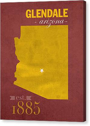 Arizona State University Sun Devils Glendale College Town State Map Poster Series No 012 Canvas Print by Design Turnpike