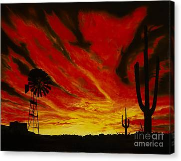 Canvas Print featuring the painting Arizona Sunset by Stuart Engel