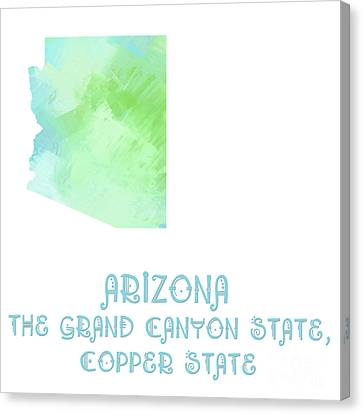 Arizona - The Grand Canyon State - Copper State - Map - State Phrase - Geology Canvas Print by Andee Design