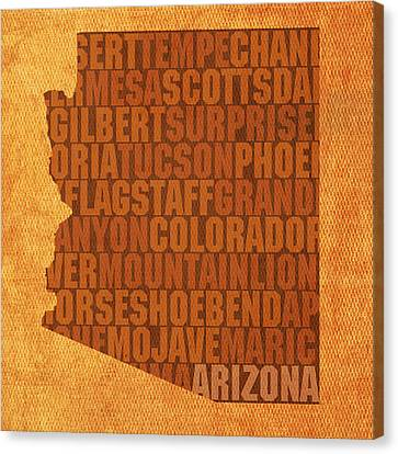 Arizona Word Art State Map On Canvas Canvas Print