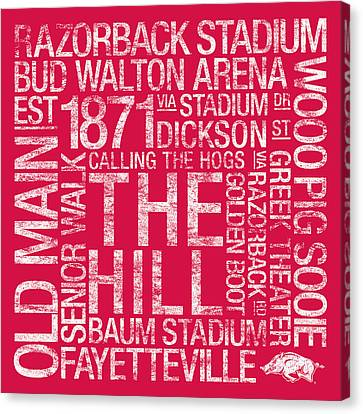Razorbacks Canvas Print - Arkansas College Colors Subway Art by Replay Photos