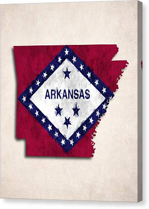Arkansas Map Art With Flag Design Canvas Print by World Art Prints And Designs