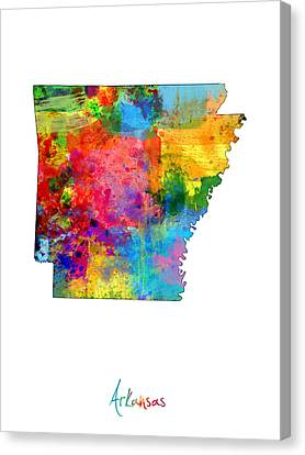 Arkansas Map Canvas Print by Michael Tompsett