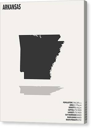 Arkansas Minimalist State Map With Stats Canvas Print by Finlay McNevin