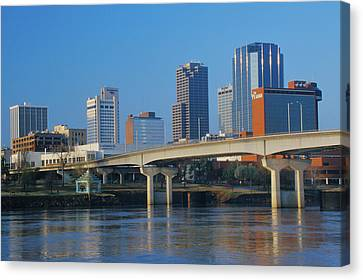Arkansas River And Skyline In Little Canvas Print