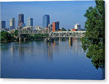Arkansas River View From North Little Canvas Print