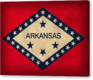 Razorbacks Canvas Print - Arkansas State Flag Art On Worn Canvas by Design Turnpike