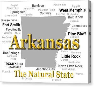 Arkansas State Pride Map Silhouette  Canvas Print by Keith Webber Jr