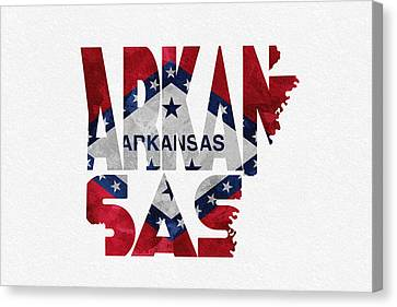 Arkansas Typographic Map Flag Canvas Print by Ayse Deniz