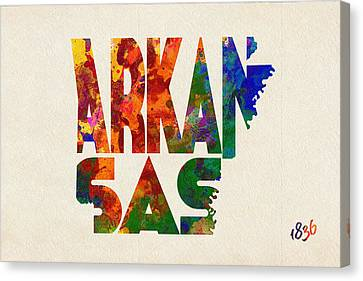 Arkansas Typographic Watercolor Map Canvas Print by Ayse Deniz