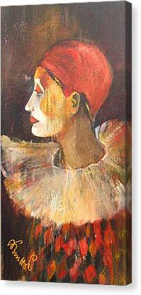 Arlequin In A Red Hat Canvas Print by Alicja Coe