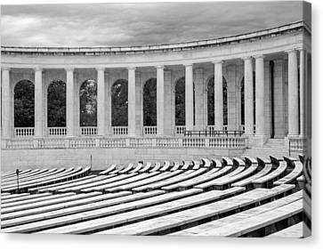 Arlington Memorial Cemetery Amphitheater  Bw Canvas Print by Susan Candelario