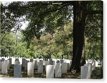 Headstones Canvas Print - Arlington National Cemetery - 121244 by DC Photographer