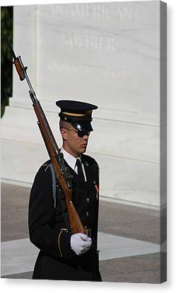 Headstones Canvas Print - Arlington National Cemetery - Tomb Of The Unknown Soldier - 121216 by DC Photographer