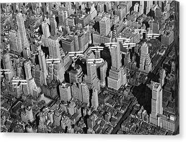 Army Air Corp Over Manhattan Canvas Print by Underwood Archives