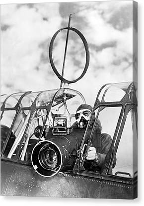 Army Air Force Camera Man Canvas Print by Underwood Archives