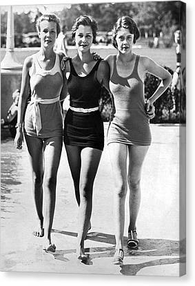 Army Bathing Suit Trio Canvas Print by Underwood Archives