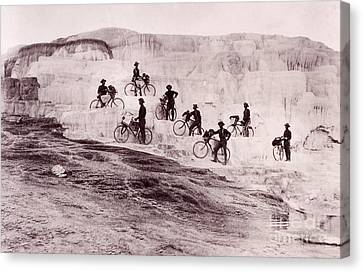 Army Bicyclists Mammoth Hot Springs Canvas Print by NPS Photo