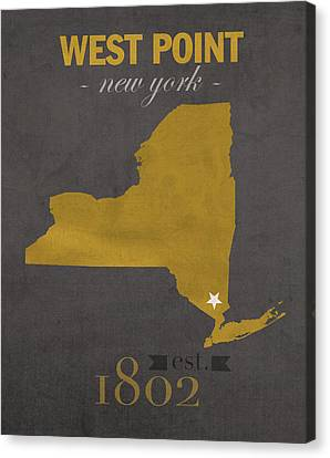 Army Black Knights West Point New York Usma College Town State Map Poster Series No 015 Canvas Print by Design Turnpike
