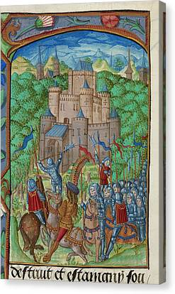 Army Laying Siege To A Castle Canvas Print