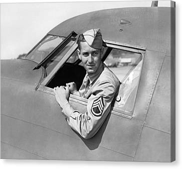 Army Pilot Looking Out Window Canvas Print by Underwood Archives