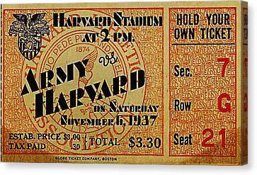 Army Vs Harvard 1937 Ticket Stub Canvas Print by Bill Cannon