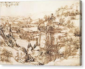 Arno Landscape Canvas Print by Leonardo da Vinci