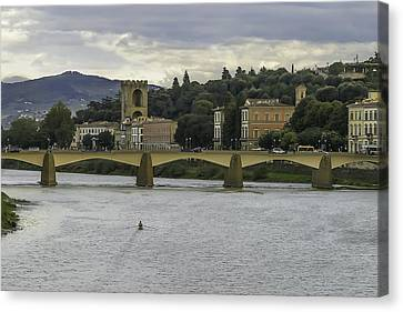 Arno River And Architecture In Florence Canvas Print by Karen Stephenson