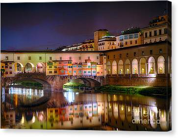 Arno River Night Reflections At Ponte Vecchio Canvas Print by George Oze