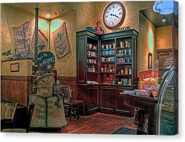 Canvas Print featuring the photograph Aromas Coffee Shop Newport News Virginia by Jerry Gammon
