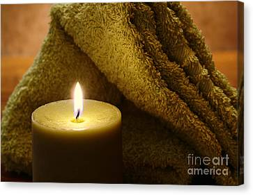 Aromatherapy Candle And Towel Canvas Print