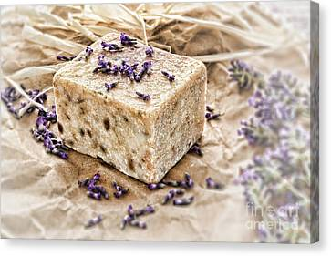 Aromatherapy Natural Scented Soap And Lavender Canvas Print by Olivier Le Queinec