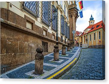 Around The Corner. Old Prague Canvas Print by Jenny Rainbow