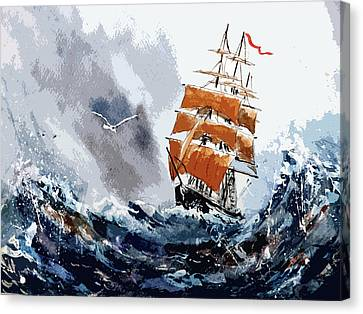 Canvas Print featuring the painting Around The Horn by Steven Ponsford