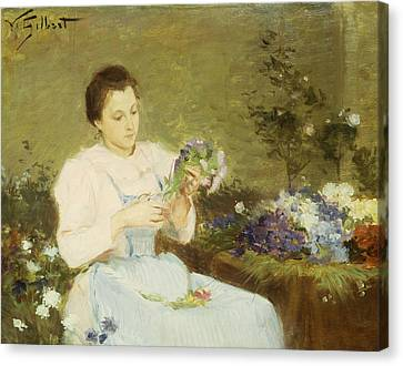 Arranging Flowers For A Spring Bouquet Canvas Print by Victor Gabriel Gilbert
