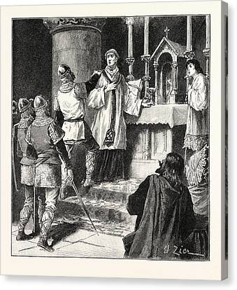 Arrest Of Archbishop Geoffrey In A Monastery At Dover Canvas Print by English School