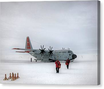 Arrival At South Pole Research Station Canvas Print by Nsf/steffen Richter/harvard University